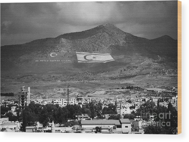 United Wood Print featuring the photograph Turkish Symbols And Turkish Cypriot Flags In Besparnak Mountain Overlooking Nicosia Cyprus by Joe Fox