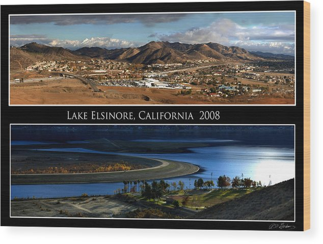Landscape Wood Print featuring the photograph Lake Elsinore 180 Degrees by Richard Gordon