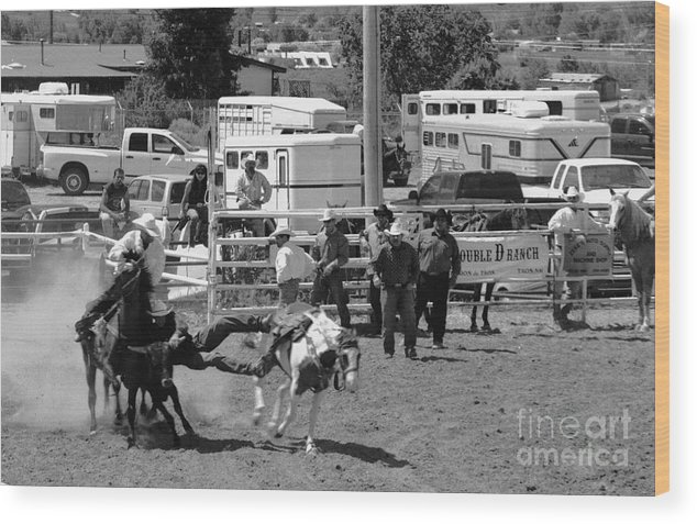 Rodeo Wood Print featuring the photograph Steer Wrestling by Susan Chandler