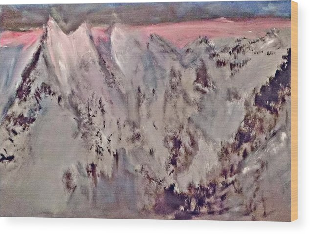 Contemporary Painting Wood Print featuring the painting The Peak by Michela Akers