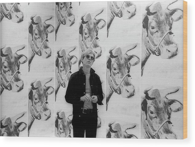 Artist Wood Print featuring the photograph Andy Warhol And Cows by Fred W. McDarrah