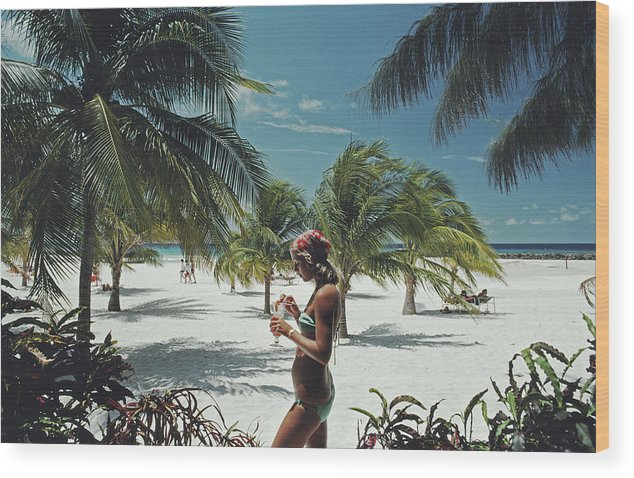 Three Quarter Length Wood Print featuring the photograph Sarah Marson Williams by Slim Aarons