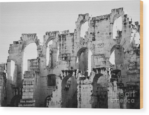 Tunisia Wood Print featuring the photograph Close Up Of Remains Of Upper Deck In The Old Roman Collosseum At El Jem Tunisia by Joe Fox