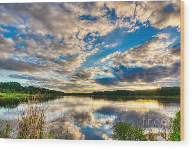 Clouds Wood Print featuring the photograph Cloudy Evening by Matthew Trudeau