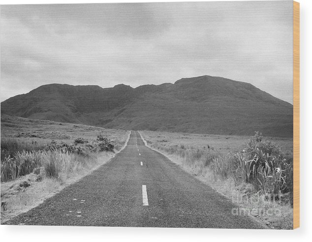 Ireland Wood Print featuring the photograph country road heading off into the Connemara mountains County Galway by Joe Fox