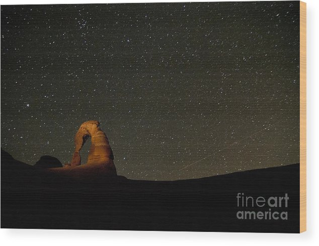 Delicate Arch At Night Wood Print featuring the photograph Delicate Night by Andi Poland