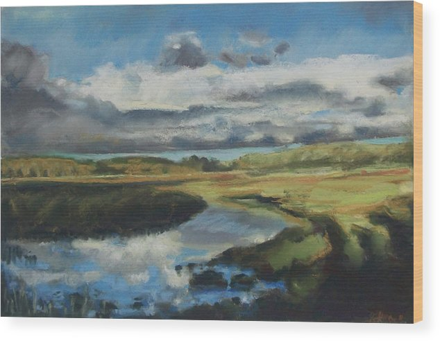 Maine Wood Print featuring the pastel Earth Air Water by Grace Keown