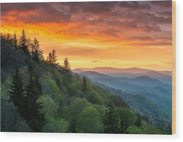Smoky Mountains Wood Print featuring the photograph Great Smoky Mountains North Carolina Scenic Landscape Cherokee Rising by Dave Allen