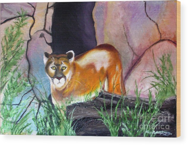 Big Cats Wood Print featuring the painting Guarding The Cave by Lora Duguay