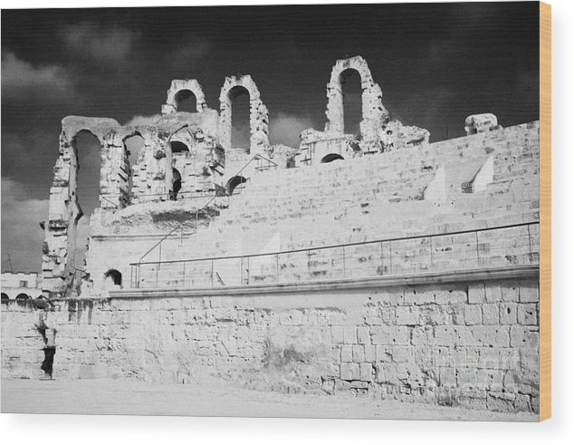 Tunisia Wood Print featuring the photograph Looking Up At Rear Remains And Layered Seating Area In The Main Arena Of The Old Roman Colloseum At El Jem Tunisia by Joe Fox