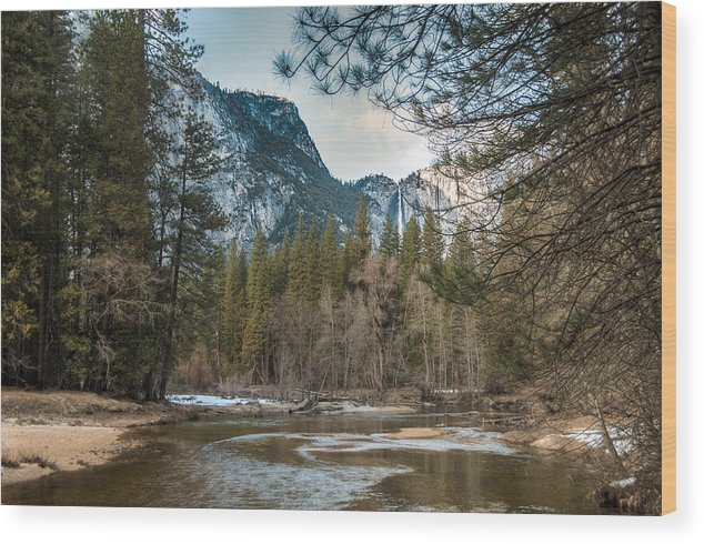 California Wood Print featuring the photograph Merced River And Upper Yosemite Falls by Connie Cooper-Edwards