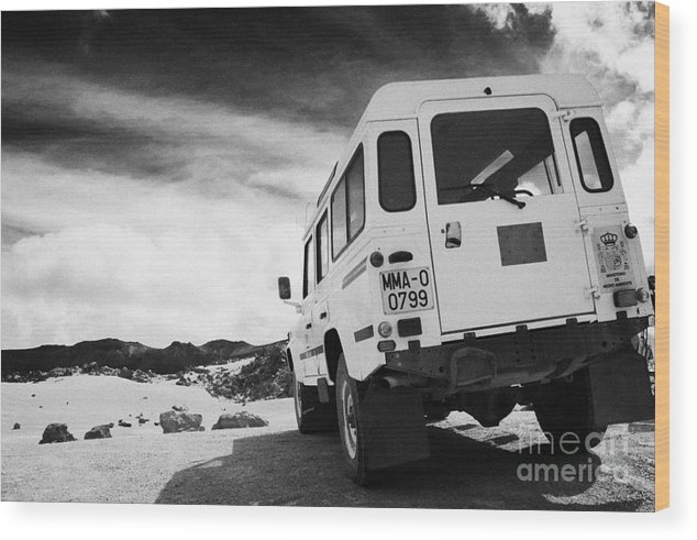 Europe Wood Print featuring the photograph Ministerio De Medio Ambiente Land Rover At Teide National Park Tenerife Canary Islands Spain by Joe Fox
