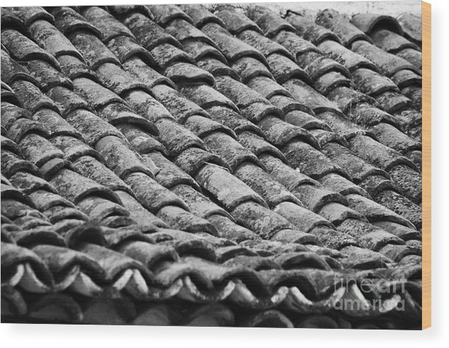 Europe Wood Print featuring the photograph old house roof tiled with traditional old spanish roof tiles Tenerife Canary Islands Spain by Joe Fox