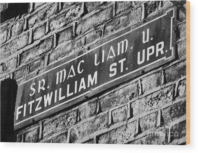 Dublin Wood Print featuring the photograph Old Style Green And White Fitzwilliam Street Upper Sign In Irish And English In Dublin On Red Brick Wall by Joe Fox