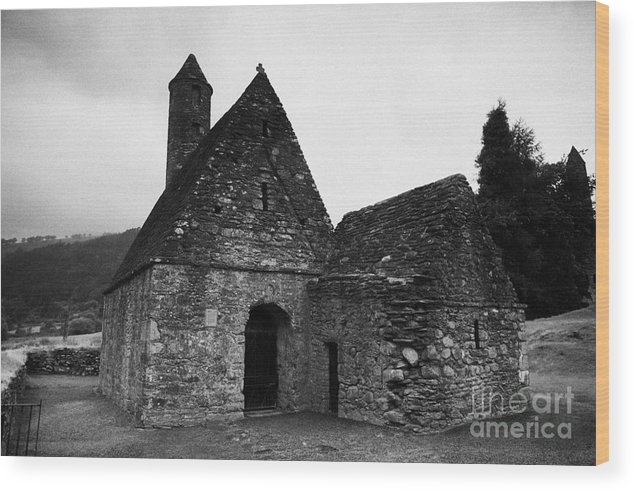 Ireland Wood Print featuring the photograph Oratory Known As St Kevins Kitchen Glendalough Monastery County Wicklow Republic Of Ireland by Joe Fox