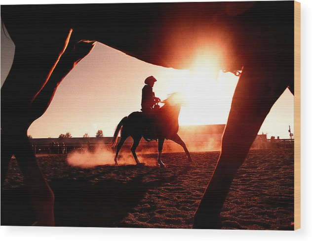 Sunset Wood Print featuring the photograph Riding High by Paul Conrad