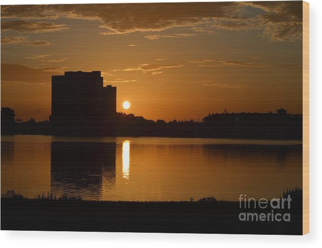 Orlando Sunrise Taken From Edgewater Drive. Wood Print featuring the photograph Orlando Sunrise by Janie North