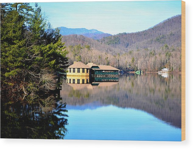 Lake Wood Print featuring the photograph Restaurant Over Looking The Lake In North Carolina by Heather Nicole Williams