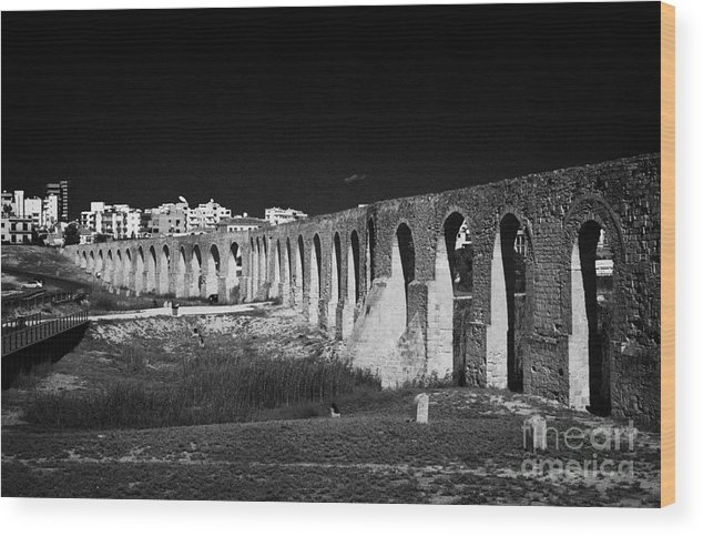 Karmares Wood Print featuring the photograph Span Of The Kamares Aqueduct Larnaca Republic Of Cyprus Europe The Aqueduct Was Built In 1750 by Joe Fox