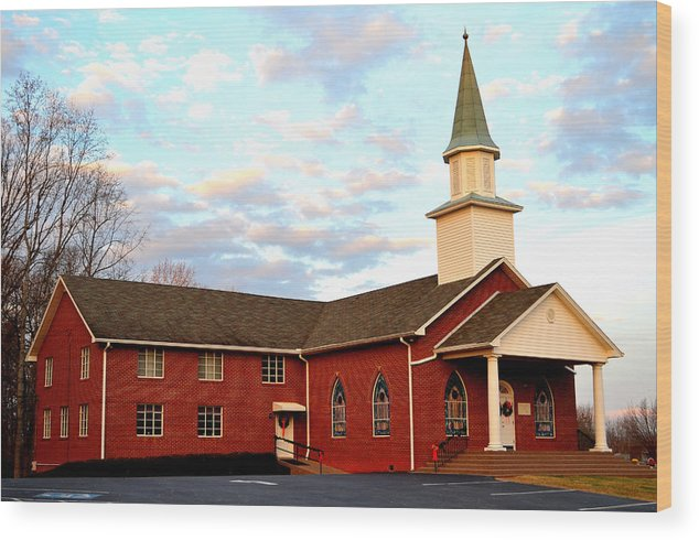 Church Wood Print featuring the photograph Sunset Over A Church In North Carolina by Heather Nicole Williams