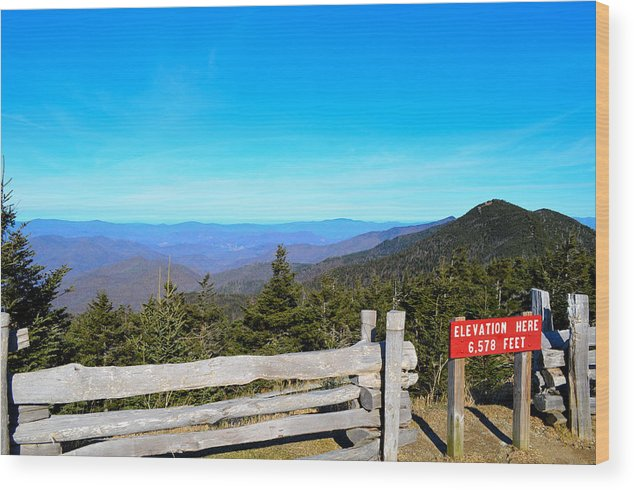 Mountain Wood Print featuring the photograph Top Of The Mountain In North Carolina by Heather Nicole Williams