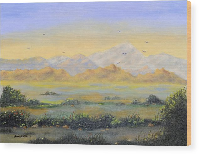 Landscape Wood Print featuring the painting Desert Sunrise by Annette Tan