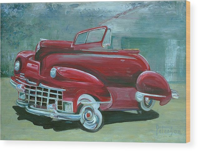 1947 Cadillac Wood Print featuring the painting Cadillac 47 by Gary Peterson