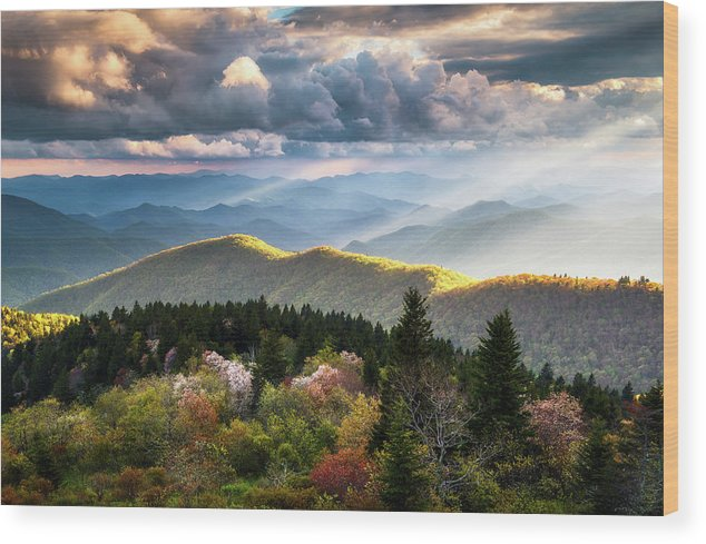 Great Smoky Mountains Wood Print featuring the photograph Great Smoky Mountains National Park - The Ridge by Dave Allen