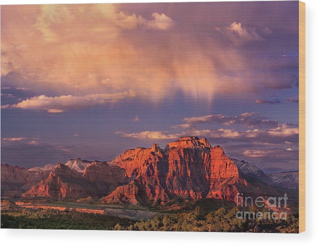 North America Wood Print featuring the photograph Sunset On West Temple Zion National Park by Dave Welling