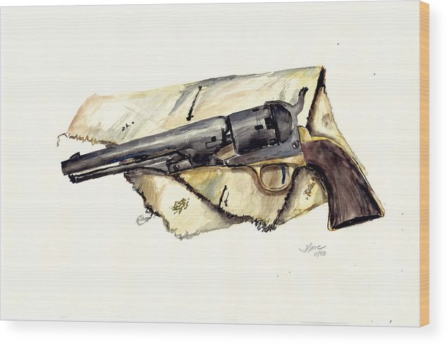 Watercolor Wood Print featuring the painting The Old Colt by Jerry Cave