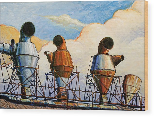 Landscape Wood Print featuring the painting Three Sentinels by Gary Symington