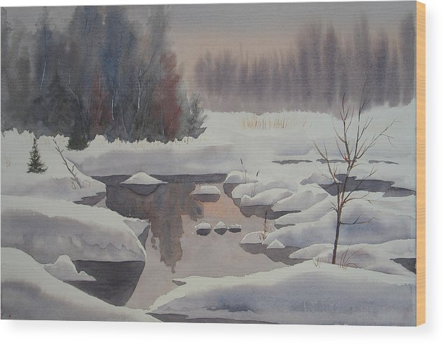 Winter Wood Print featuring the painting Winter Magic by Debbie Homewood