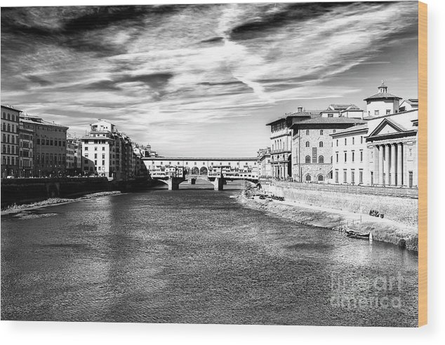 Arno River View Wood Print featuring the photograph Arno River View In Florence by John Rizzuto