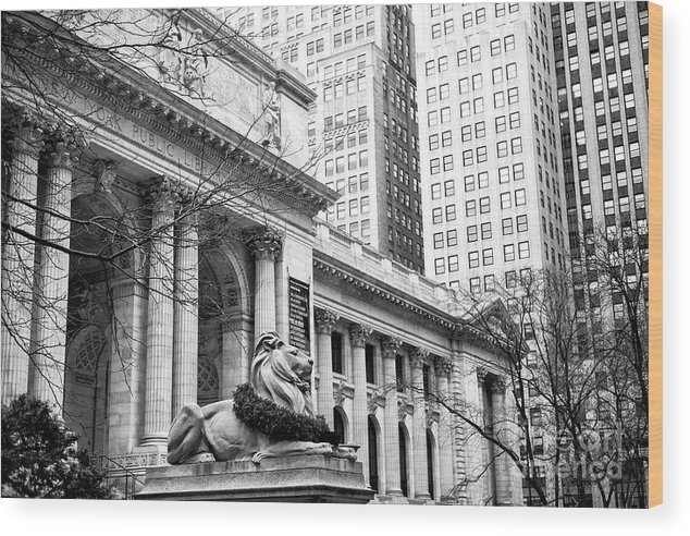 Christmas At The New York Public Library Wood Print featuring the photograph Christmas At The New York Public Library At 42nd Street by John Rizzuto