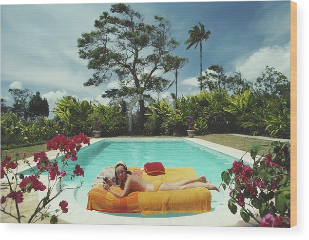 Artist Wood Print featuring the photograph Sunbathing In Barbados by Slim Aarons