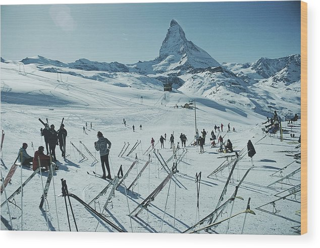 Shadow Wood Print featuring the photograph Zermatt Skiing by Slim Aarons