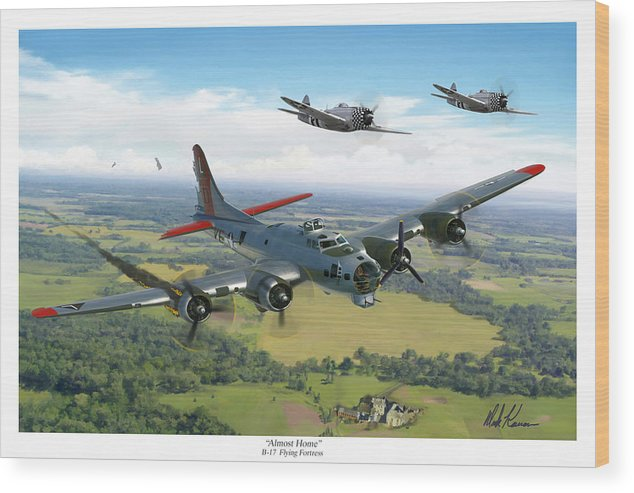 Airplane Wood Print featuring the painting Almost Home B-17 Flying Fortress by Mark Karvon
