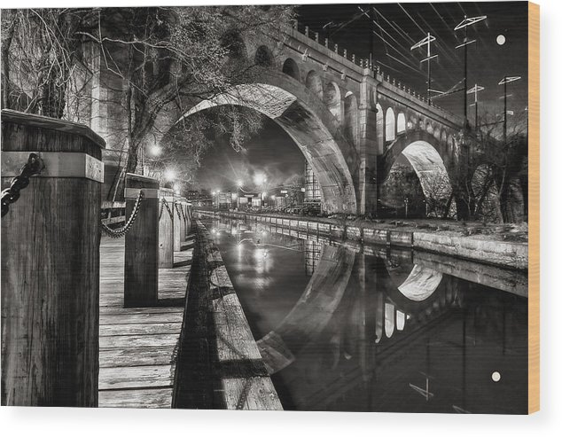 Bridge Wood Print featuring the photograph Arches At Night. by Todd Wall