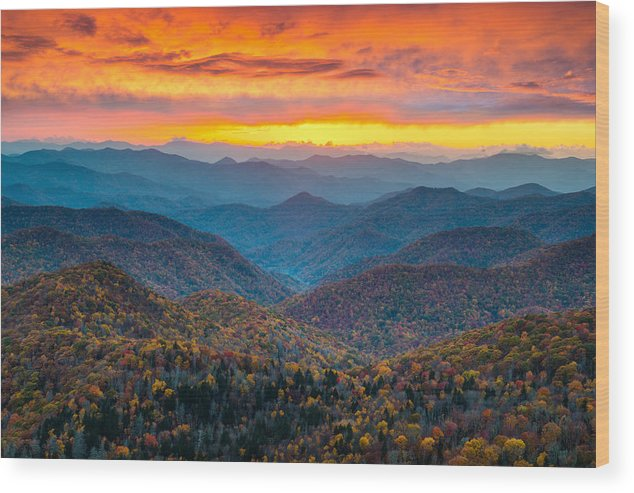 Blue Ridge Parkway Wood Print featuring the photograph Blue Ridge Parkway Fall Sunset Landscape - Autumn Glory by Dave Allen