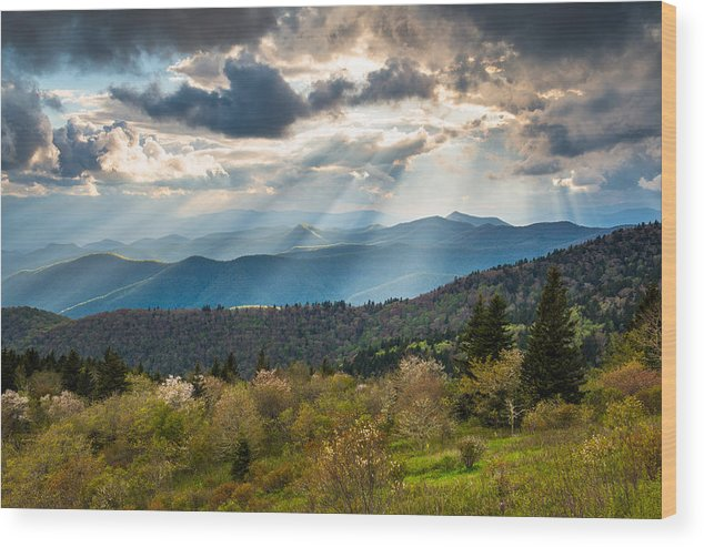 Blue Ridge Parkway Wood Print featuring the photograph Blue Ridge Parkway North Carolina Mountains Gods Country by Dave Allen