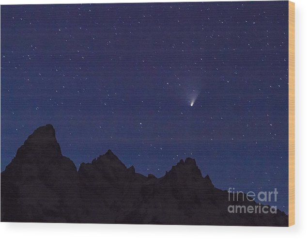 Astronomy Wood Print featuring the photograph Comet Pan-starrs Over Tetons by Mike Cavaroc