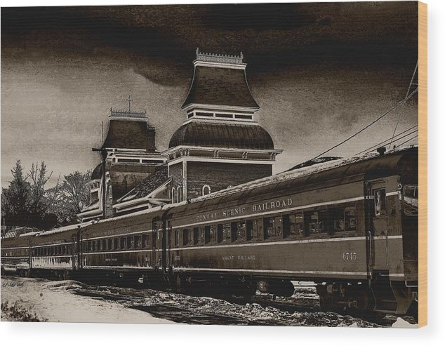 Railroad Wood Print featuring the photograph Conway Rail Station by Fred LaPoint