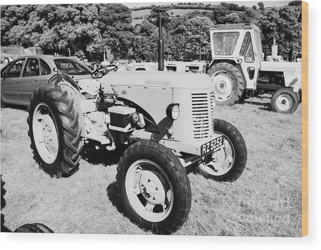 County Wood Print featuring the photograph david brown 25D classic tractor during vintage tractor rally at glenarm castle open day county antrim northern ireland by Joe Fox