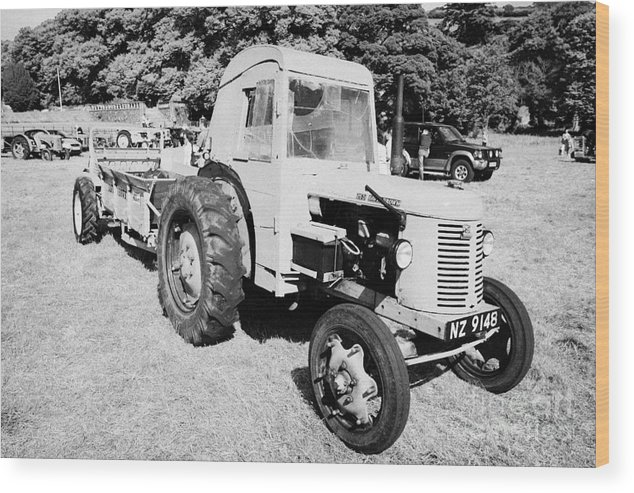 County Wood Print featuring the photograph David Brown 25d Classic Tractor With Albion Plough During Vintage Tractor Rally At Glenarm Castle Open Day County Antrim Northern Ireland by Joe Fox