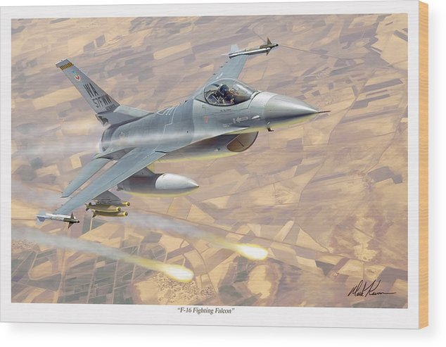 Aviation Wood Print featuring the painting F-16 Fighting Falcon by Mark Karvon