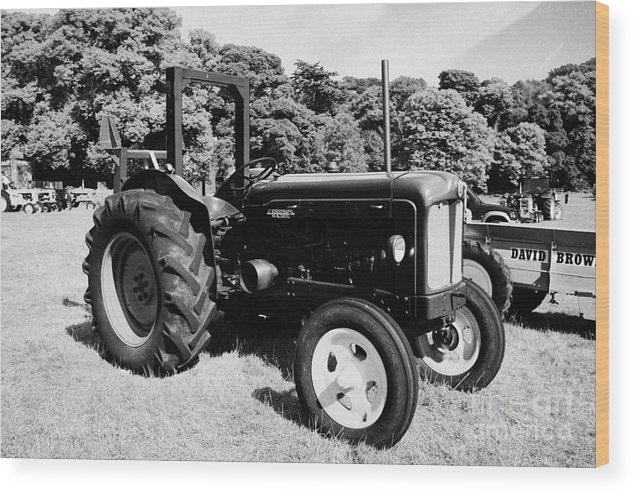 County Wood Print featuring the photograph Fordson Major Classic Tractor During Vintage Tractor Rally At Glenarm Castle Open Day County Antrim Northern Ireland by Joe Fox