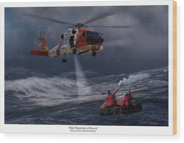 Aviation Wood Print featuring the painting High Magnitude Of Bravery by Mark Karvon