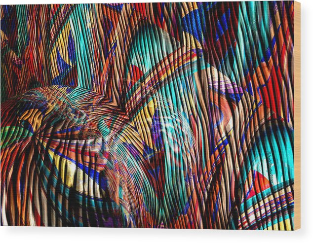 Abstract Wood Print featuring the painting Iguana In The Rough by Robert Maestas