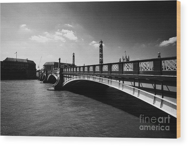 Bridge Wood Print featuring the photograph lambeth bridge over the river thames central London England UK by Joe Fox