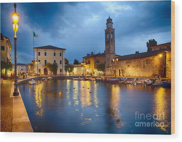 Lake Garda Wood Print featuring the photograph Lazise Harbor Night Scenic by George Oze